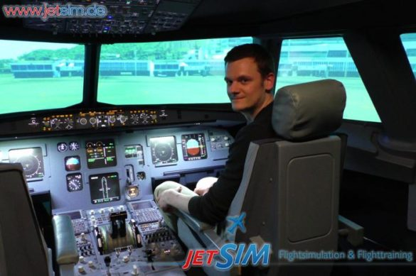 Berlin JetSim Jan im Cockpit