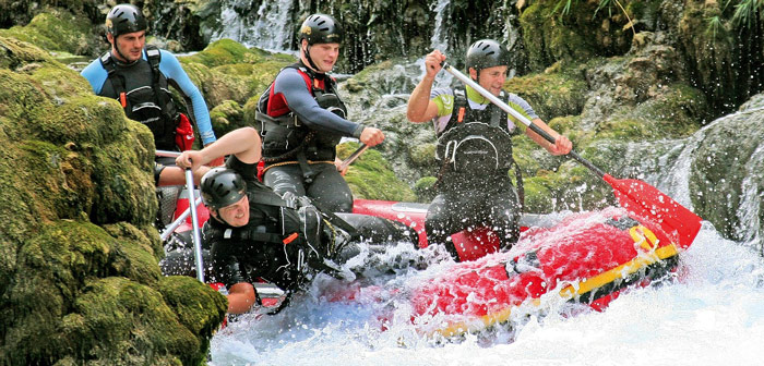rafting in den alpen