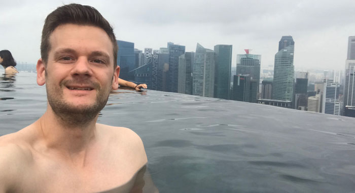 Mein Selfie im Marina Bay Sands Pool